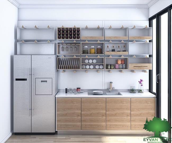 استفاره از قفسه های باز در طراحی کابینت در آشپزخانه های کوچک